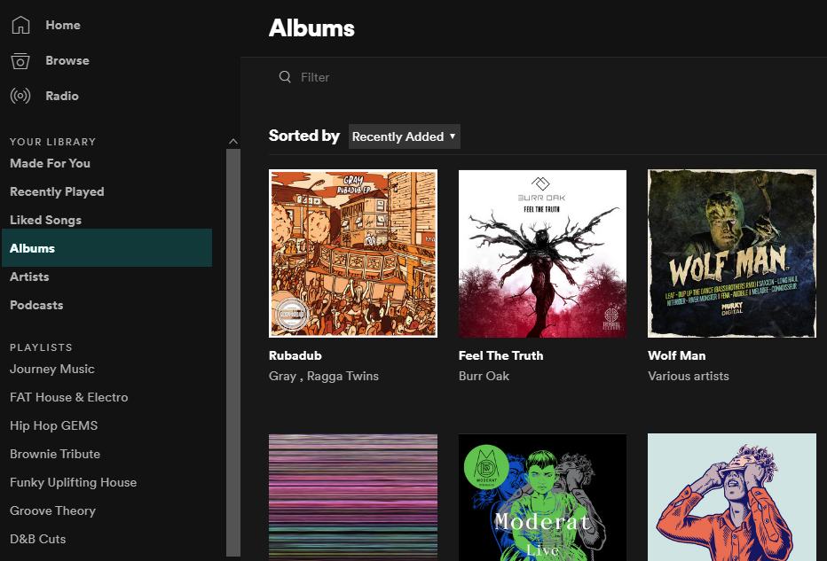On release day the new release now appears in the users 'Album' list found on the left side of the Spotify App under 'YOUR LIBRARY'.